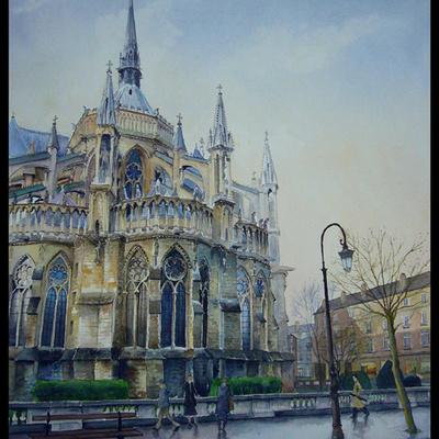 Derrière Notre Dame de Reims
