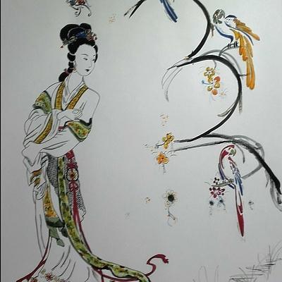 geisha aux pérroquets