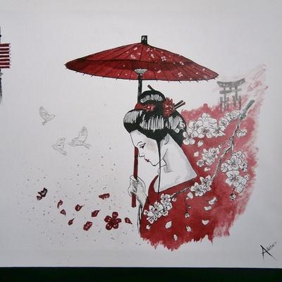 Geisha à l'ombrelle