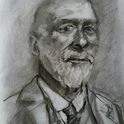 'Isaac' (21 x 14.8 cm, charcoal on 200 gms paper)