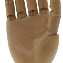 Mains articulées en bois