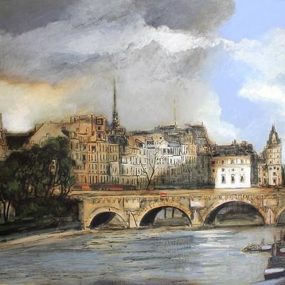 Le pont neuf à Paris, huile Sennelier extra fine sur toile de lin 195 cm x 130 cm