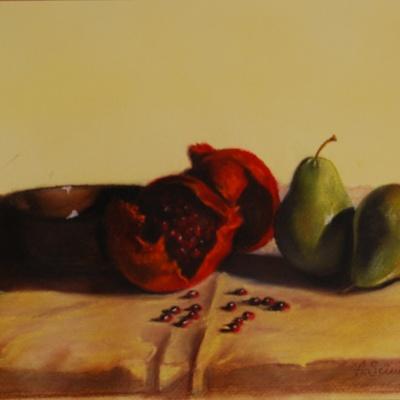 Still life with pear and pomegranates