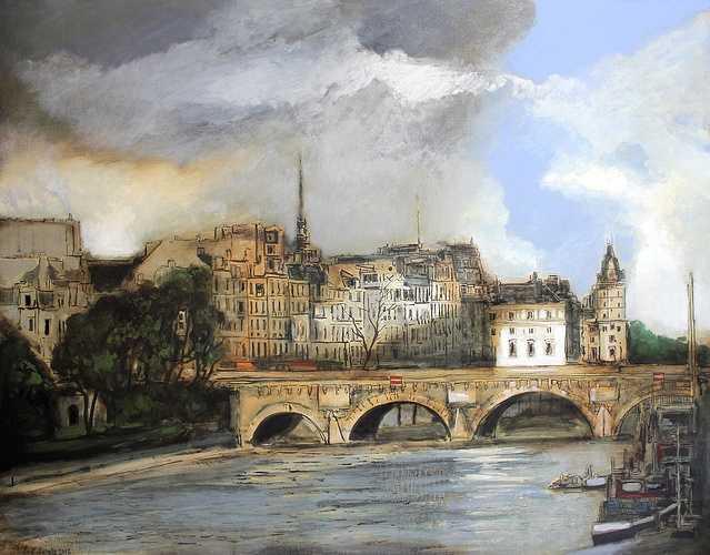 Le pont neuf à Paris, huile Sennelier extra fine sur toile de lin 195 cm x 130 cm 0