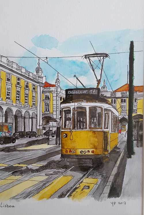 Tram in Lisbon 0