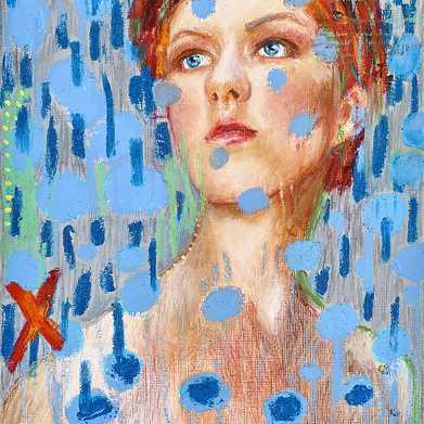 blue rain, oil, oil stick, oil pastel, pencil on paper, 24x30cm 2018