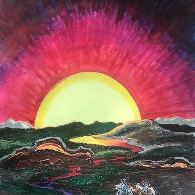 sunset over volcanic landscape