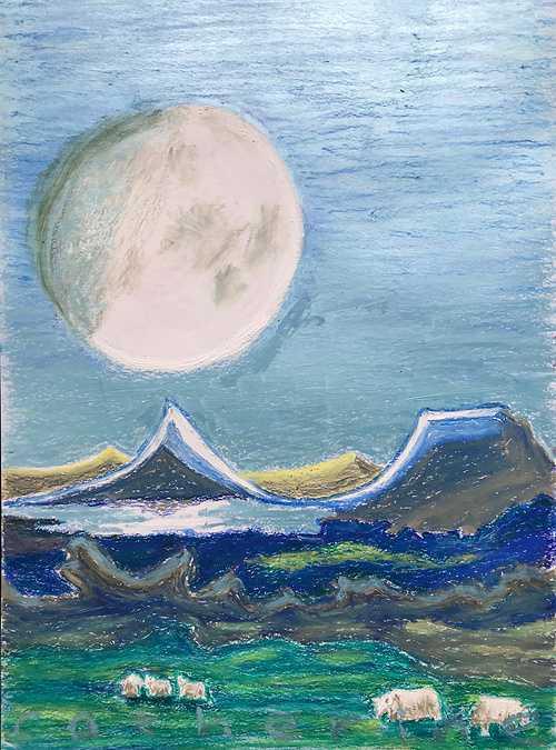 Sheep graze in moonlit volcanic land 0