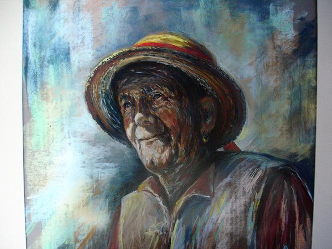 Vieille paysanne au chapeau 0