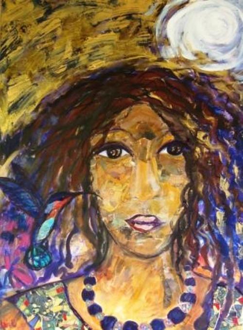 Woman with hummingbird 0