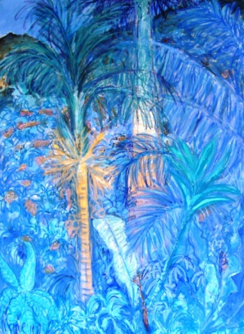 palms in blue 0