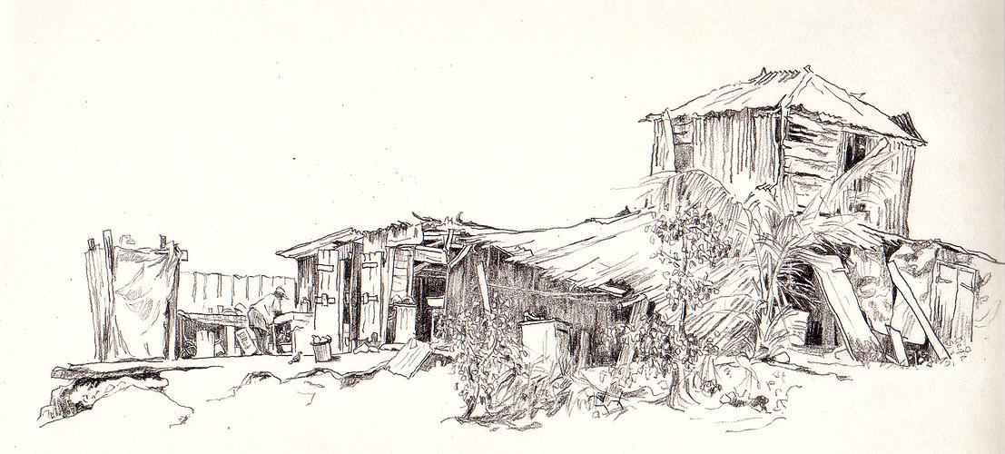 une vieille case vue de la plage 0