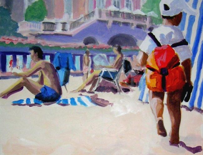 enfant sur la plage acrylique 0