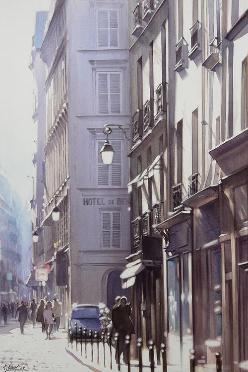 Une rue de Paris sous le soleil 0