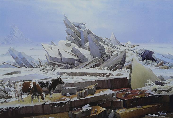 Les vaches perdues sur la mer de glace de Caspar David Friedrich 0