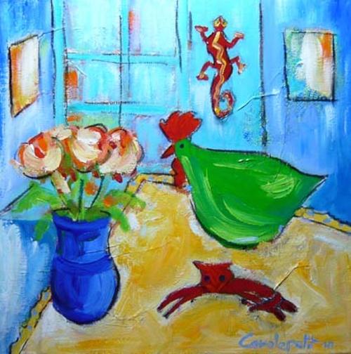 Poule verte et vase bleu 0