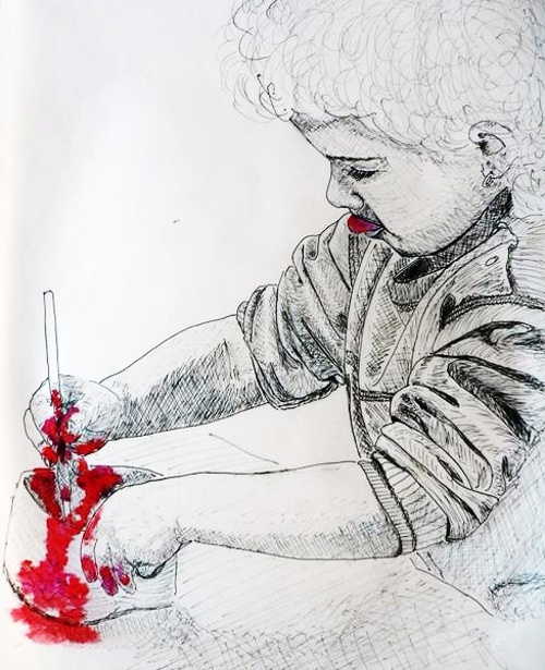 enfant à la peinture rouge 0