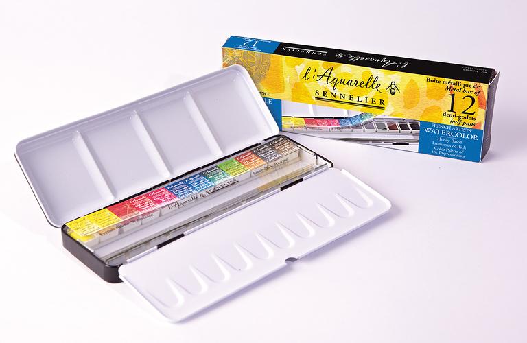 Boîtes d''Aquarelle classiques n131613-metal12dgetui