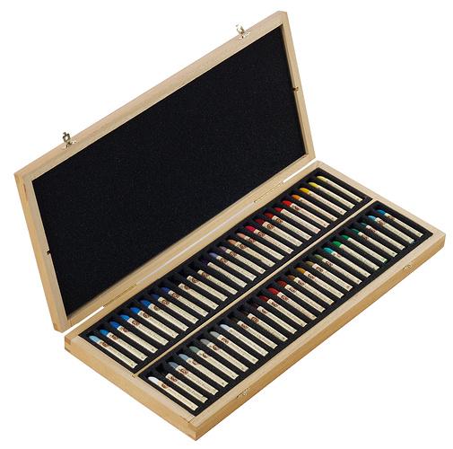 Pastels à huile - Coffrets bois n132518-50pl
