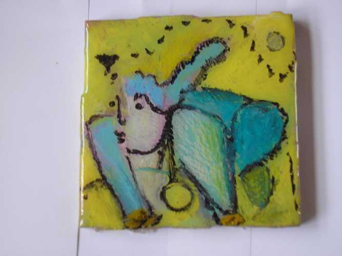 oil pastel on ceramic tile 0