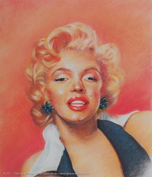 Portrait au pastel de Marilyn Monroe 0