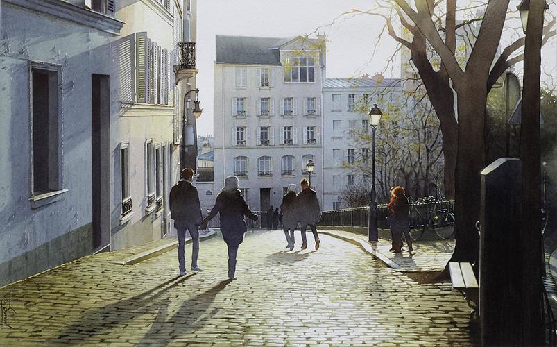Soleil couchant sur les pavés de Montmartre 0