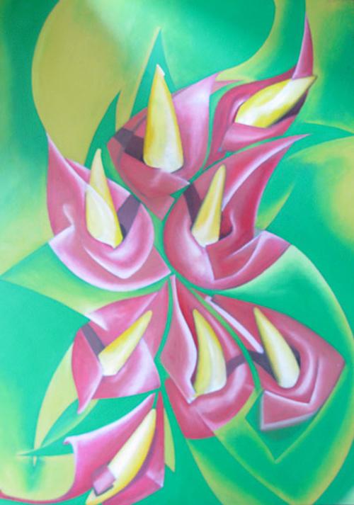 Fleurs sur fond vert 0