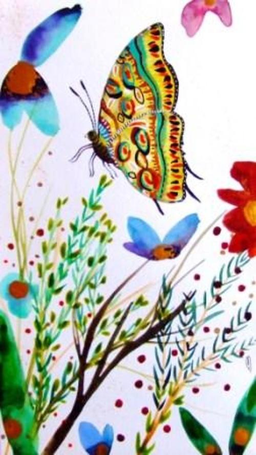Papillon jardin fleurs 0