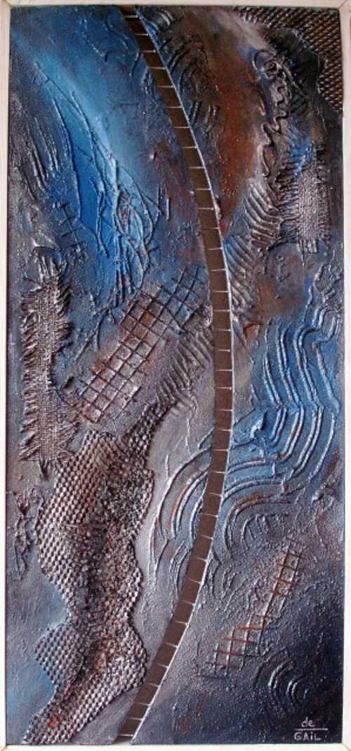 FRONTIERE dypfique acryl sur toile 35X72 0
