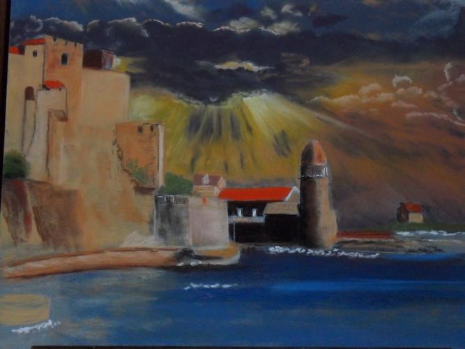 coucher de soleil sur le port de collioure 0