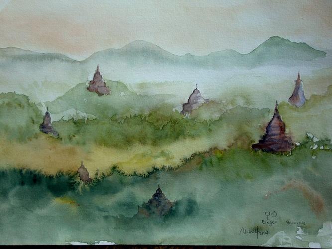 temples dans la brume Bagan Birmanie 0