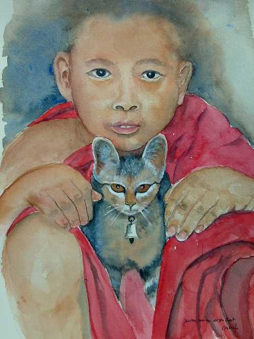 jeune moine et son chat 0
