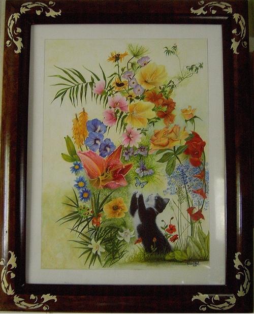 Chat aux fleures 0