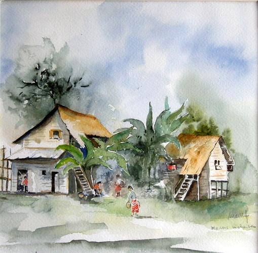 maisons sur pilotis à Bornéo 0