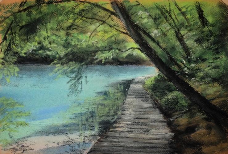 Plitvice lakes. 23*34. Sennelier soft pastels 0