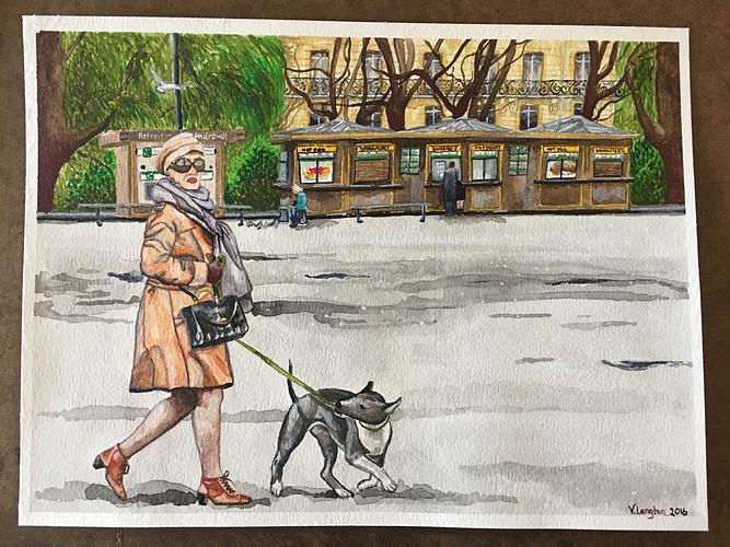 Woman walking dog underneath the Eiffel Tower 0