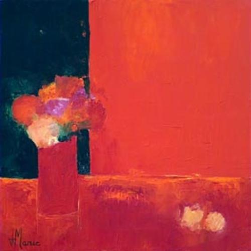 bouquet sur fond rouge 0