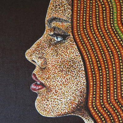 Jeune Femme aux perles vertes et dorées dans sa chevelure - www.michel-perrier.com