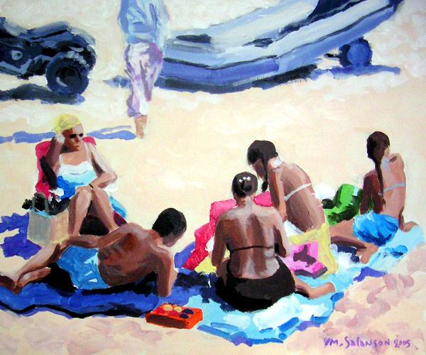 Famille sur la plage de l'Ecluse à Dinard 0