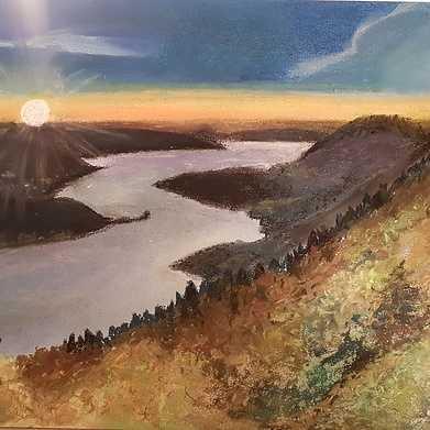 coucher de soleil sur le lac d annecy