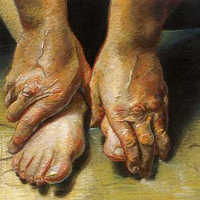 old hands and tired feet