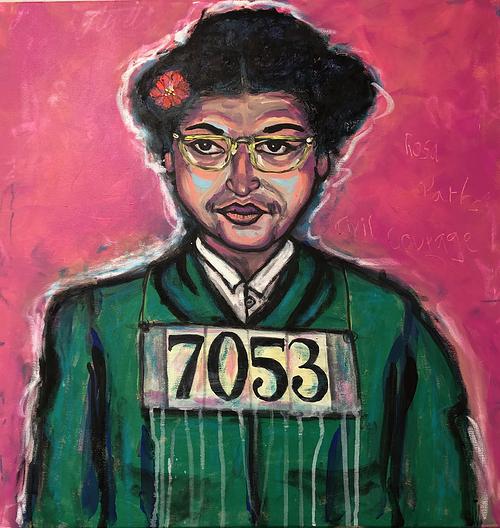 Portrait: Rosa Parks, 80 x 80 cm, (Civil Courage) 0