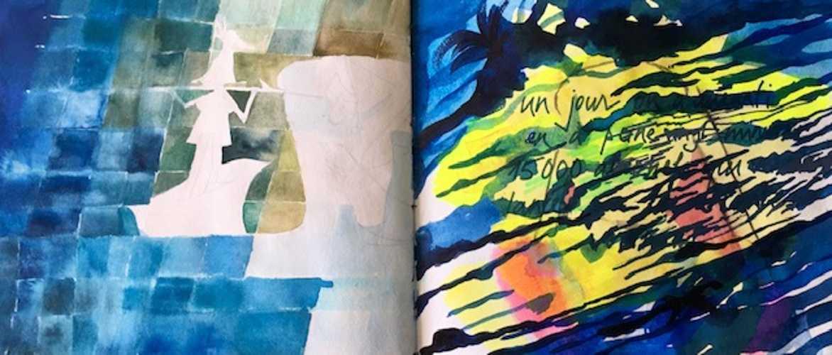 Double page de carnet : d'après Paul Klee ''Sinbad'' ; ''Mandarom'' 0