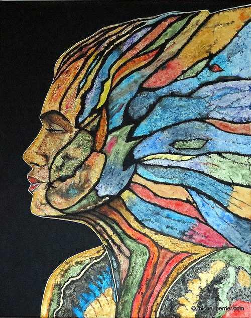 Profil multicolore, techniques mixtes, 100 x 80 cm, www.michel-perrier.com 0
