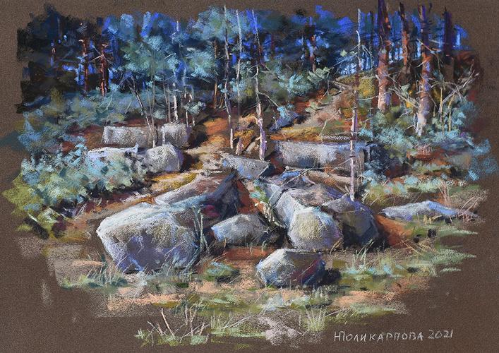 ''Les gardiens de la forêt'' - 34x50 pastel sec sur papier Sennelier 2021 0
