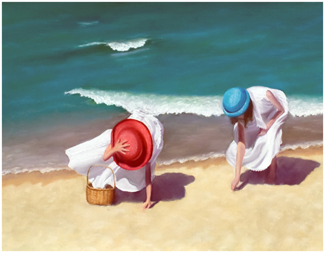 two girls on beach 0