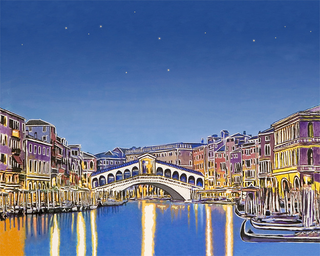 Stars over Venice, Sennelier watercolor and pastel 0