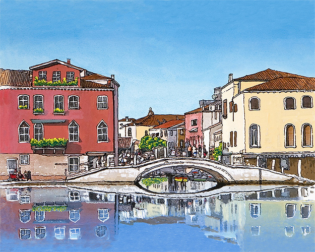 Venice Crossbridge Sennelier watercolor and pastel 0