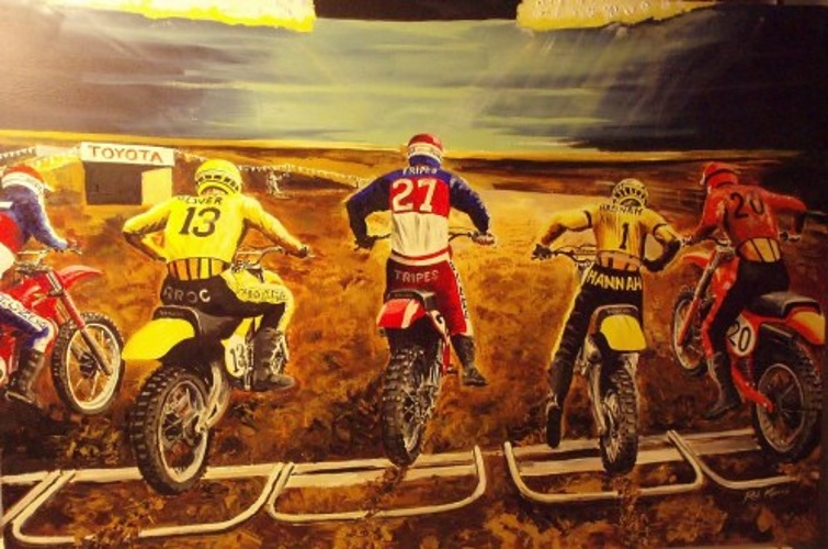 1978 Houston Supercross Start Painting by Rob Kinsey 0