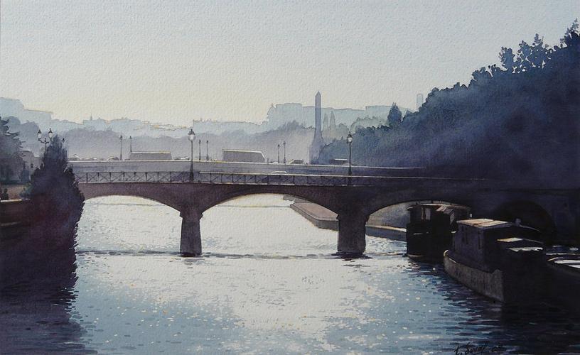 Soleil couchant sur le pont de l'Archevêché 0